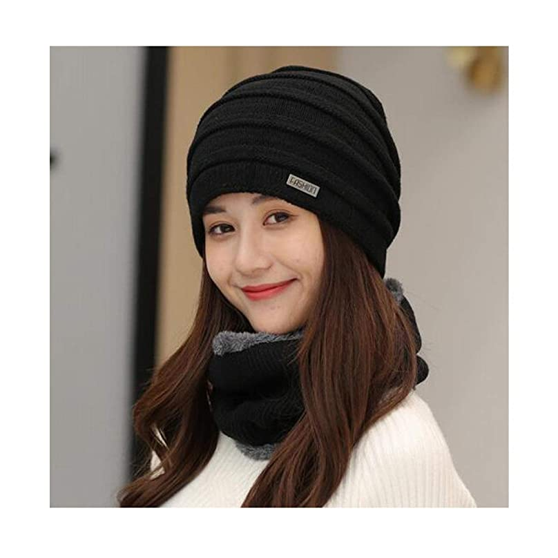 地殻すみませんコマースDZBH ハット女性の水平ウールの帽子のつばには冷たいパイル帽子黒い帽子+よだれかけに対する暖かいニット帽ファッションの耳の保護を設定します