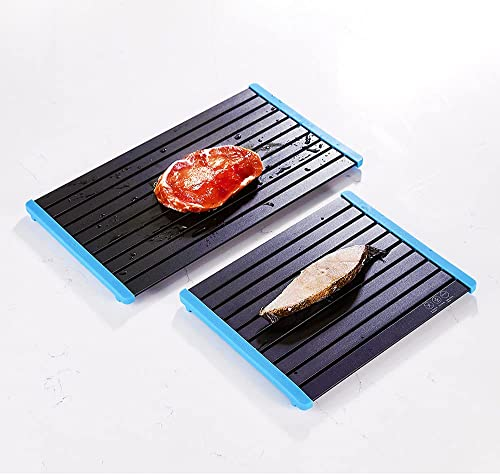 2021 FORIOUS Fast discount Defrosting Tray for Meat 2 high quality PCS, Rapid Thawing Plate with Removable Blue Silicone for Frozen Food, Thick Defrosting Plate Board for The Safest Way to Thaw Meat Fish, Aluminum online