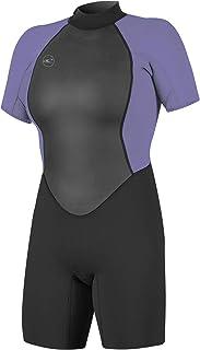 O'Neill Wetsuits Women's Reactor II 2mm Back Zip Spring Wetsuit, Black/Mist, 4