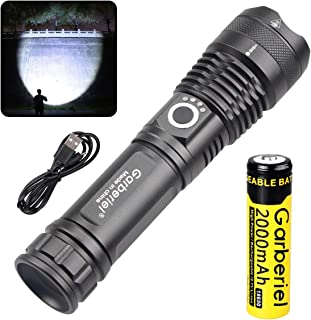 Garberiel 3000 Lumens XHP50 Flashlight LED USB Rechargeable Torch Light Tactical Waterproof Torchlight Zoomable 5 Modes