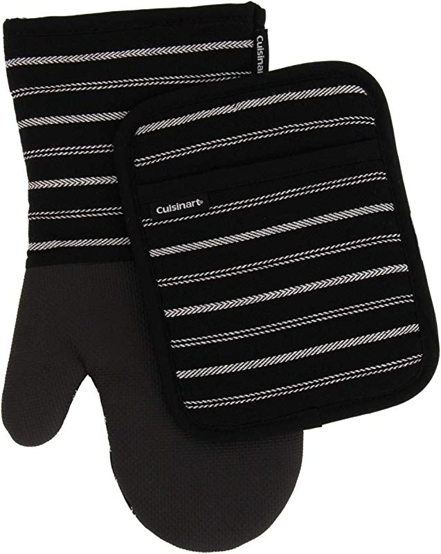 Cuisinart Neoprene Oven Mitts And Potholder Set Heat Resistant Oven Gloves To Protect Hands And Surfaces With Non Slip Grip Hanging Loop Ideal For Handling Hot Cookware Items Twill Stripe Jet Black