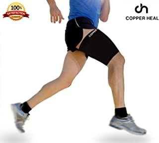 Thigh Compression Recovery Sleeve by COPPER HEAL - Recover from Sore Pulled Hamstring and Groin Strain Pain Sprains Tendinitis Injury Quadriceps Muscle Tear Quad Support Sports Workout Soccer Leg