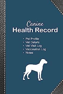 Canine health record: Dog vaccine record book | Pet health record | Puppy vaccine record | 101 pages, 6