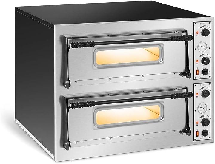 Forno elettrico professionale per pizza forno per pizzeria rc-pob44 (2 camere, 8 x Ø 32 cm) royal catering