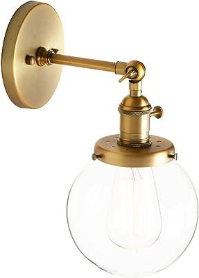 Pathson Lampe murale décorative en verre en forme de petite boule transparente, applique décorative de loft, applique d'intérieur Antike Farbe
