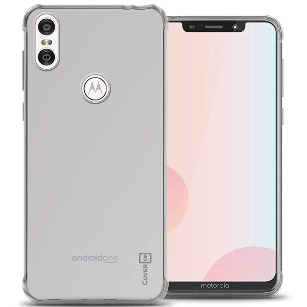 CoverON [FlexGuard Series] Motorola Moto One Case, Moto P30 Play Case, Slim Fit TPU Phone Cover with Anti-Slip Grips and Corner Impact Padding for Motorola One (P30 Play) - HD Clear