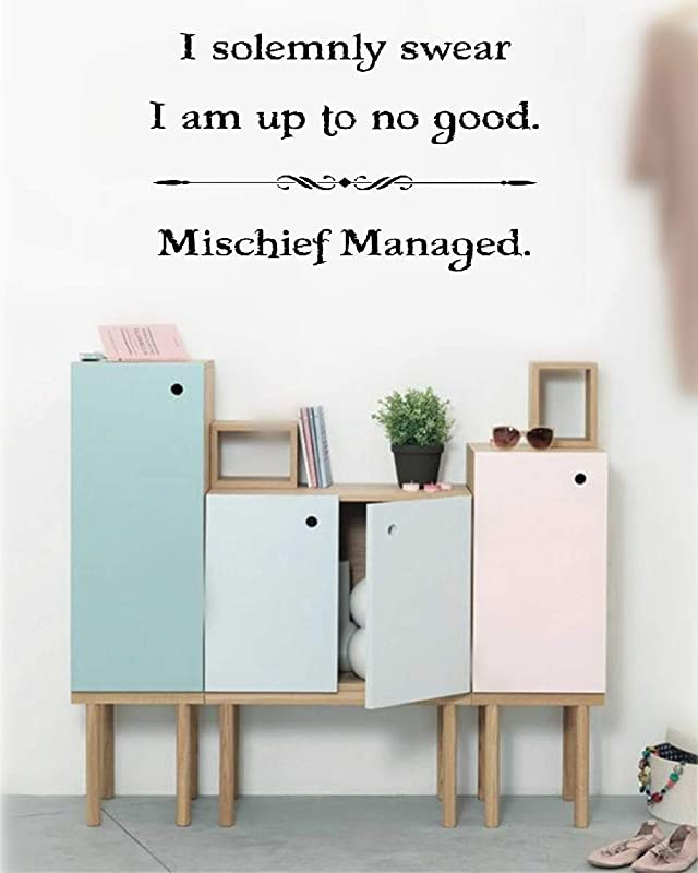 Wall Stickers Inspiring Quotes Home Art Decor Decal Mural I Solemnly Swear I Am Up To No Good Mischief Managed For Nursery Kids Room