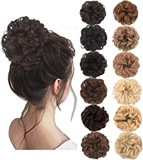 AQINBEL Messy Bun Hair Piece 2PCS/Package Hair Scrunchies Extensions Curly Wavy Messy Synthetic Chignon Updo for Women Ladies Girls Hairpiece (Color: Dark Brown)