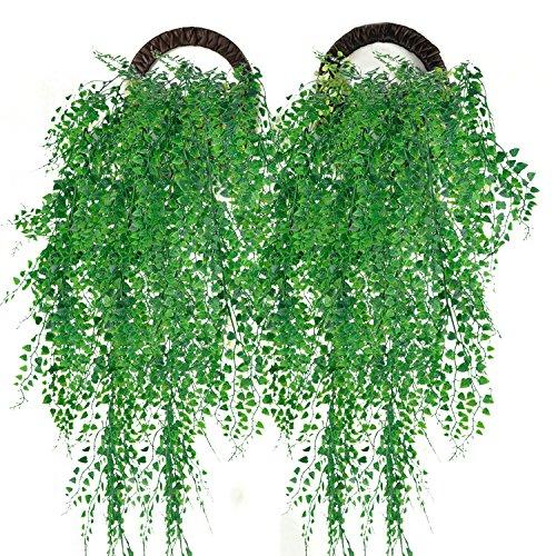 Planta de pendurar artificial Outgeek Fita de Ivy Planta Simulada de pendurar Fábrica Verde para Decoração de Casamento em Casa