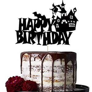 Halloween Birthday Cake Topper Black Glitter Happy Birthday Cake Decor Spooky Haunted House Wizard Ghost Witch Cap Halloween Themed Boys Girls Birthday Party Cake Supplies Decorations