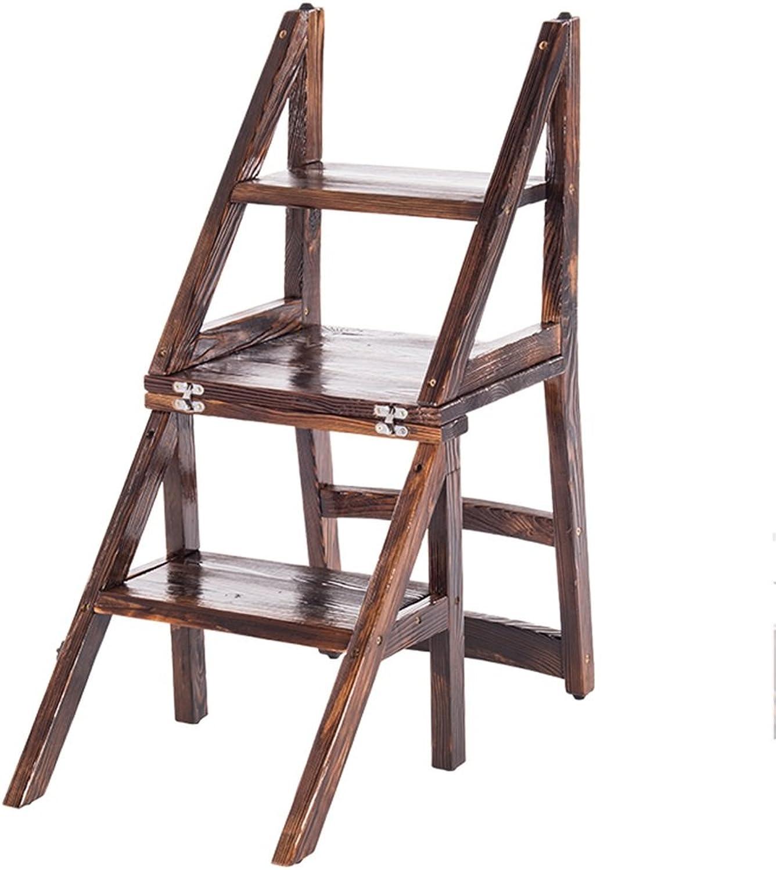 CAIJUN Klappleiter Hockerv Multifunktion  Dual-Use 4 Schritte  rutschfest Mit Rückenlehne Stuhl Regal  Tanne Hhe 87 cm Dual-Use