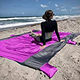 Next Level Neighbor Lightweight Sand Free Beach Blanket – Oversized 9ft x 7ft - Wind & Sand Resistant - 4 Sand Anchor Pockets - Stays Cool in The Heat - Triple Stitched Seams for Durability