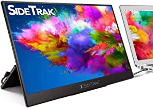 """SideTrakSolo Portable Monitor 15.8"""" FHD 1080P LED Anti-Glare IPS Screen   Compatible with Mac,PC &Chrome   Powered by USB or HDMI   Built-in DisplayPort, Stand, Speakers, & HDR"""