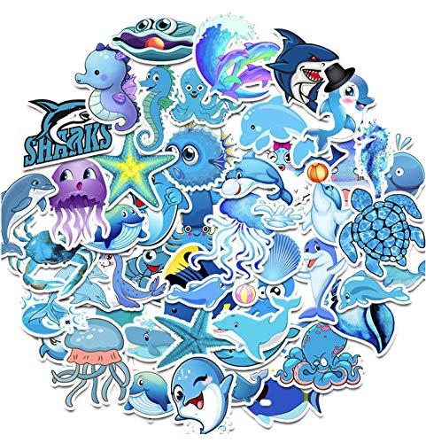 50 Stuks/Pak Schattige Zeedier Haai Graffiti Stickers Gitaar Koffer Skateboard Meisjes Kinderen Grappige Sticker Kinderen Klassiek Speelgoed