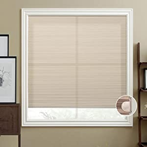 HIHIYO Window Blinds Cellular Shades Honeycomb Cordless Light Filtering, Trim-at-Home, No Tools Installation, Room Darkening Home Shades for Bedroom, Office, Kitchen(24