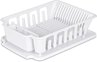 EXTRA LARGE Heavy Duty Sturdy Hard Plastic Sink Set With Dish Rack with Attached Drainboard Cup Holders for Home Kitchen C...