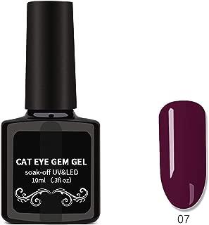 Cat Eyes Nail Polish, Nail Art Removable Nail Polish, Magnet Gem Wide Cat Eyes Colored Glass Star Glue 04,07