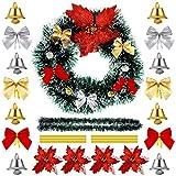 WILLBOND Guirnalda de Pino Artificial de Navidad con 36 Lazos 30 Campanas 4 Flores Poinsettia Brilantes y 50 Alambres Dorados para Mantle Escaleras Pared Puerta Chimenea Árbol de Navidad Jardín