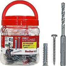 Fischer elektrische box emmer met 200 pluggen SX 6 + 200 cilinderschroeven + boor SDS plus Ø6 mm, ideaal voor het bevestig...