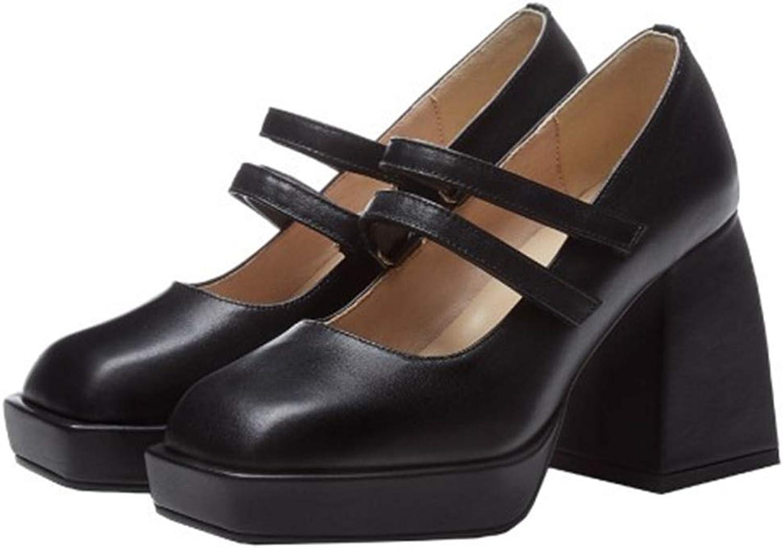 dollskiss Women's Closed Round Toe Chunky Heels Mid Sandals Slip Charlotte store Mall