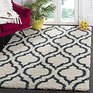 SAFAVIEH Hudson Shag Collection SGH284T Moroccan Non-Shedding Living Room Bedroom Dining Room Entryway Plush 2-inch Thick Area Rug, 8′ x 10′, Ivory / Slate Blue