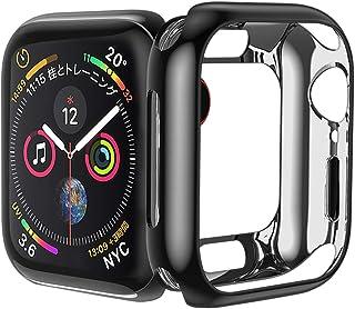 HOCO コンパチブル Apple Watch Series6/SE/5/4 ケース アップルウォッチ カバー 44mm メッキ TPU ケース 耐衝撃性 超簿 脱着簡単 アップルウォッチ 保護ケース(ブラック/44mm)