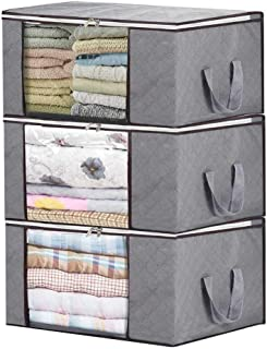 Bamboo Charcoal Clothing Organizer Bags, Foldable Storage Zipper Bag, Large Durable Closet Storage Boxes Case Container for Dresses Quilt Season Items Storage (Grey, 3 Pack)