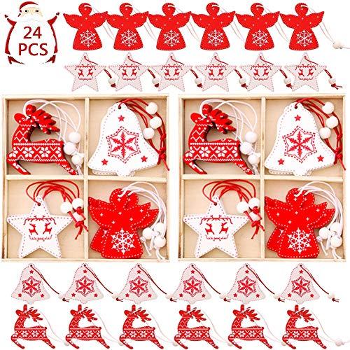 BESTZY Natale Ciondolo in Legno 24 Pezzi Pendenti Legno Natalizi Addobbi Albero di Natale Decorativi per Albero di Natale Fai da Te Bianco Rosso