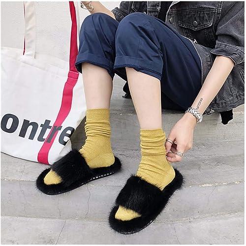 OMFGOD Mesdames Fashion Chaussons Confort Fourrures Cuir Caoutchouc Fond Intérieur Extérieur Chaussures De Loisirs