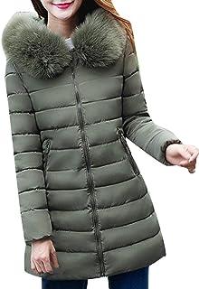 7b6d94fc3b Battercake Femme Doudoune Manteau Hiver Slim Fit Trench Poches Latérales  Zipper avec Fermeture Éclair Manches Longues