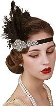SweetTV - Diadema de plumas de los años 20 con cristales decorativos, color negro