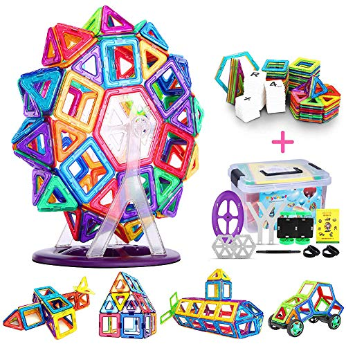 FlyCreat Magnetic Blocks, Magformers, Educational Toy, Pythagoras, 3D, Puzzle, Building Blocks, Combinations, Kids; Unique Christmas, Kindergarten Enrollment, Baby Shower, Etc., Gift; Planning, Imagination and Thinking Ability Training; 40 Pcs (24 x Triangle Pcs, 16 x Square Pcs)