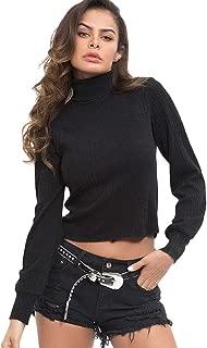 Women's Long Lantern Sleeves Turtleneck Basic Pullover Ribbed Knit Sweater Crop Tops