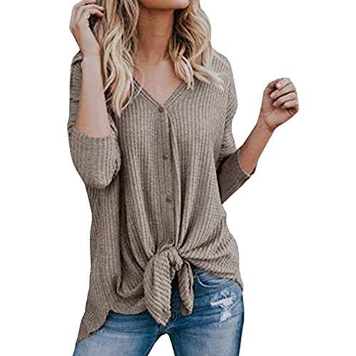 5b9cffd1ab3c8e Halife Womens Waffle Knit Tunic Blouse Long Sleeve Button Down Henley Shirts  Loose Tie Front Tops