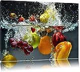 Früchte fallen ins Wasser Format: 120x80 auf Leinwand, XXL