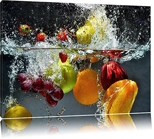 Früchte fallen ins Wasser Format: 120x80 auf Leinwand, XXL riesige Bilder fertig gerahmt mit Keilrahmen, Kunstdruck auf Wandbild mit Rahmen, günstiger als Gemälde oder Ölbild, kein Poster oder Plakat