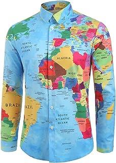 UUYUK Men Turn Down Collar Outdoor Zip Casual Long Sleeve Slim Shirts