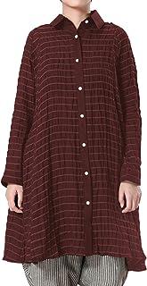 BKSTUDIOS Women Loose Tunics Button Down Long Sleeve Shirts Cotton Linen Dress Blouses