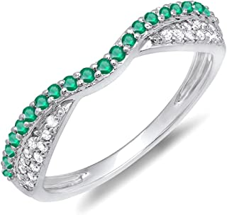 Dazzlingrock Collection 14K Gold Round Tsavorite & White Diamond Ladies Anniversary Wedding Band Stackable Ring