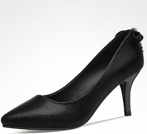 Xia&Pantoufles Femmes Chaussures PU Caoutchouc Semelle Noir Argent 7.5cm Talon Se Sentir Gratuit pour Assortir Chaussures Unique Travail Chaussures Lady (Couleur   Noir, Taille   EU36 UK4 CN36)