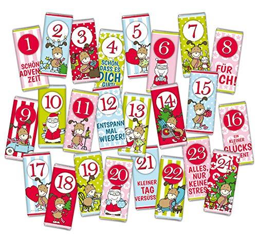ADVENTSKALENDER BEFÜLLUNG 24 mal Mini Schokolade WEIHNACHTEN STEINBECK Vollmilch Schokolade Tafel Frohe Weihnachten 24er Set Geschenk süß Mitgebsel Wichtel 18g Tafeln Zahlen 1-24 zum Befüllen