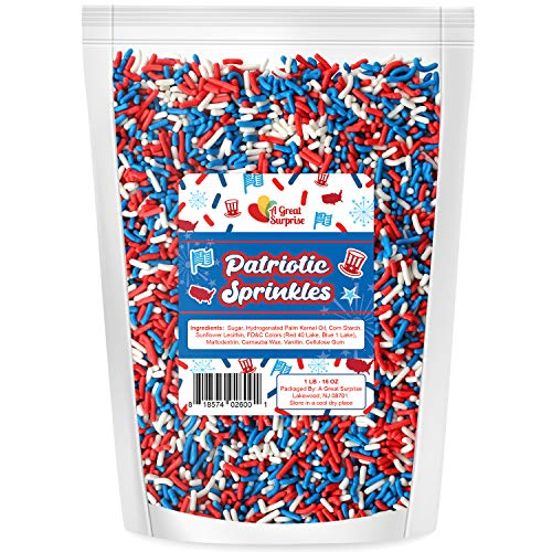 A Great Surprise Patriotic Sprinkles - Red, White, Blue Sprinkles - 4th of July - Bulk Toppings - 1 LB