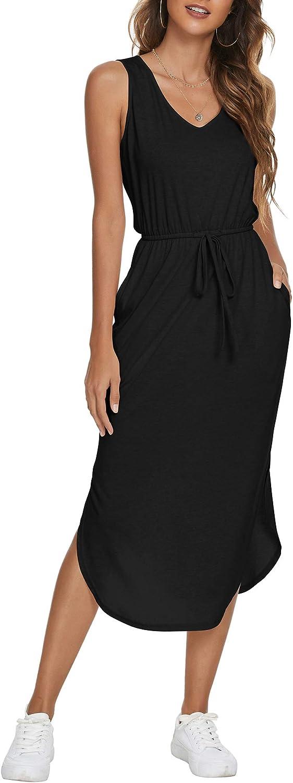 FENSACE Women's Casual V-Neck Sleeveless Side Split Drawstring Waist Midi Length Vest Dress with Pocket