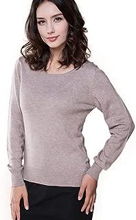 Panreddy Women's Cashmere Wool Blended Long Sleeve Crew Neck Sweater Purple L