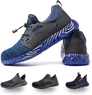 Hitmars Chaussure de Securité Homme Legere Respirante Confortable Baskets de Travail Securite Femmes Embout Acier Noir Gri...