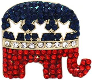 GOP Republican Party Elephant Democratic Party Donkey Brooch Pin