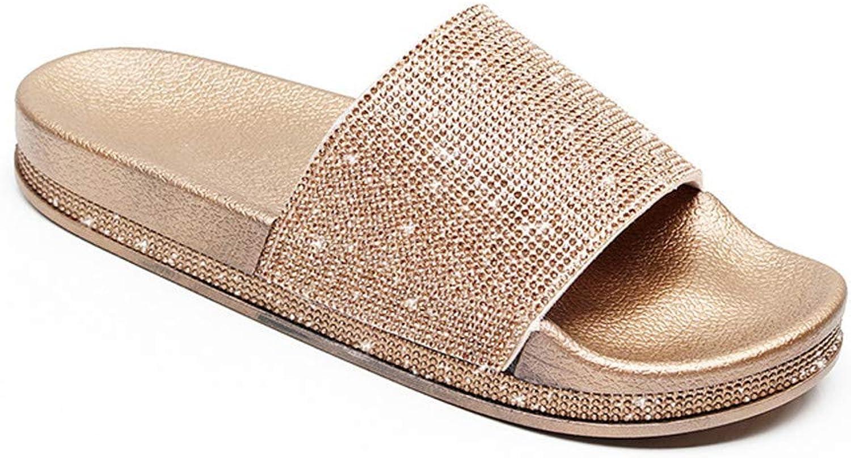 Hot Crystal Diamond Slippers Summer Women Slippers Bling Beach Slides Flip Flops Ladies Sandals