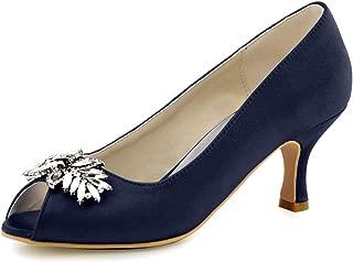 ElegantPark Women Peep Toe Pumps Leaf Rhinestones Comfort Heel Satin Wedding Bridal Dress Shoes