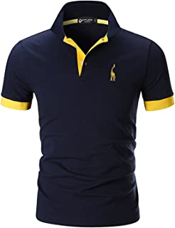 STTLZMC Mens Short Sleeve Poloshirts Regular-Fit Contrast Color Top Shirt with Giraffe Embroidery
