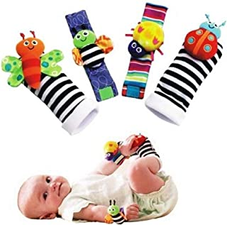 YOLO Baby Wrist Rattle and Foot Rattles, Animal Toys Finder Socks Development Toy for Newborn Baby Set of 4 pcs (Butterfly)